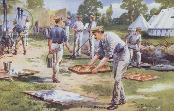 Soldiers preparing bread in a field bakery during WWI. (colour litho)