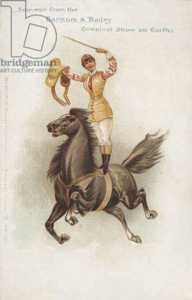 Woman horse rider of Barnum and Bailey's Circus (chromolitho)