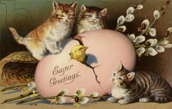 Easter Greetings (colour litho)