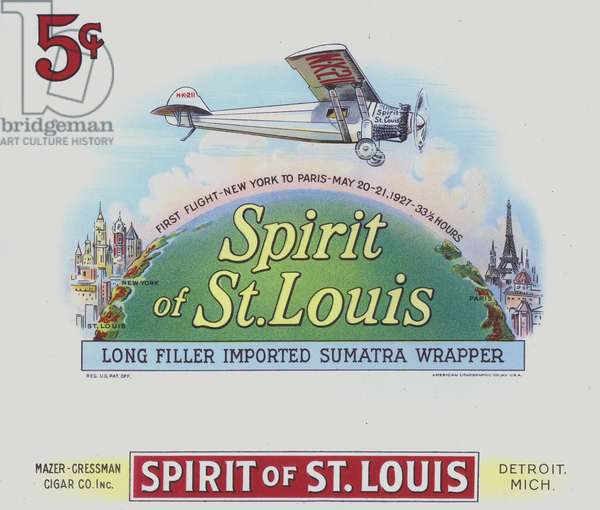 "Cigar box label depicting the ""Spirit of St Louis"" - commemorating Charles Lindbergh's first non-stop flight from New York to Paris on 20-21 May 1927 (colour litho)"