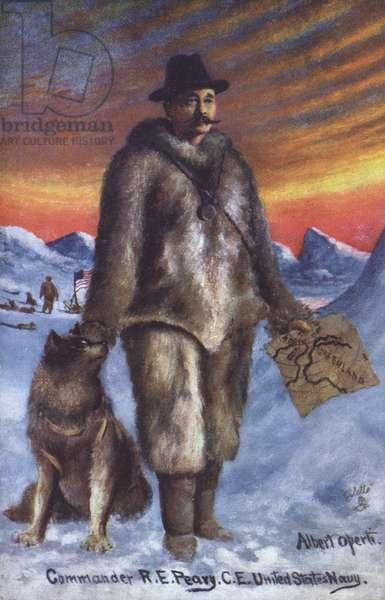 American polar explorer Commander Robert E Peary on an expedition to the Arctic (colour litho)