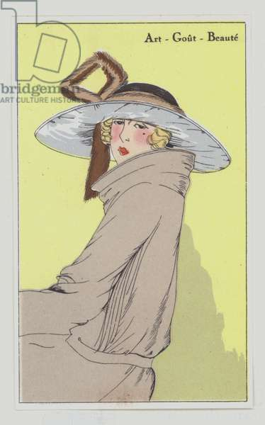 Women's hat design from the 1920s (colour litho)