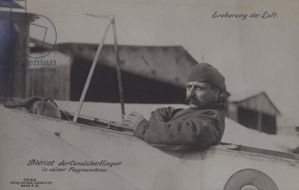 French aviator Louis Bleriot, the first to fly across the English Channel, in his monoplane (b/w photo)
