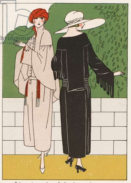 Women's coat fashions from the 1920s (colour litho)