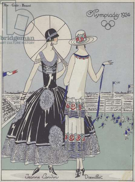 Women's fashion at the 1924 Olympic Games by designers Jeanne Lanvin and Georges Doeuillet (colour litho)