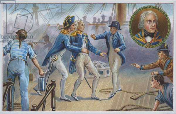 Lord Nelson wounded at the Battle of Trafalgar in 1805. (chromolitho)