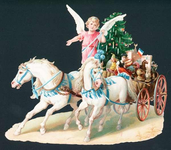 Angel on horseback delivering presents, Christmas Card (chromolitho)