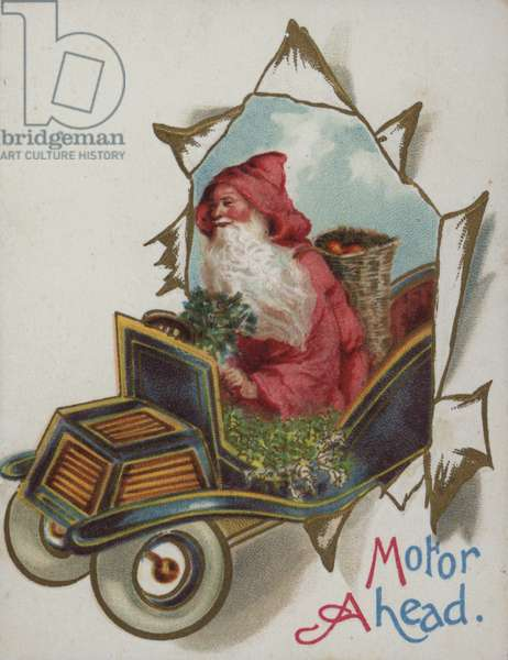 Santa Claus driving a car, Christmas card (chromolitho)