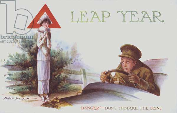 Leap year - danger! Don't mistake the sign! (colour litho)