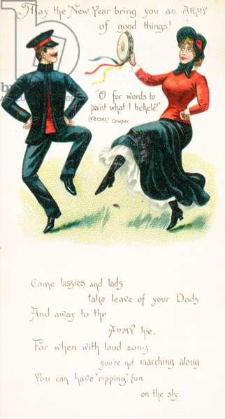 Salvation Army Dancers, New Year Card (chromolitho)