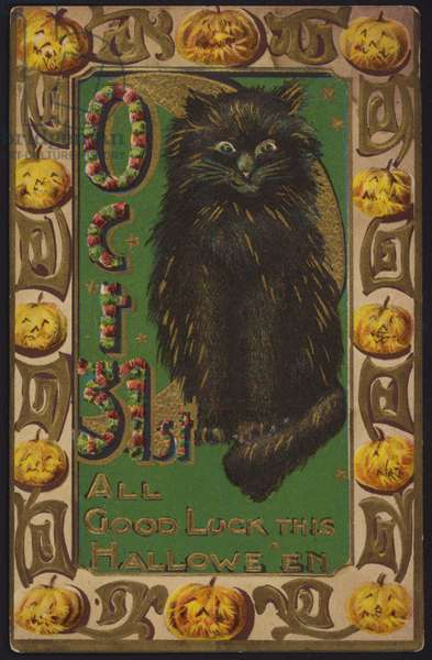 Halloween card, Black Cat and Pumkins (colour litho)