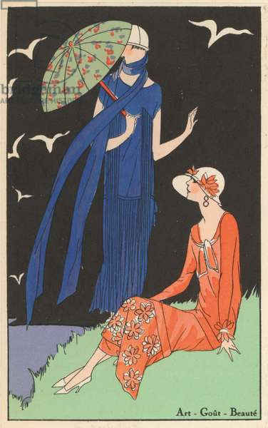 Women's fashion of the 1920s by designers Gustave Beer and Augusta Bernard (colour litho)
