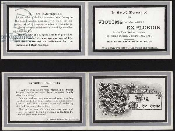 Memorial card in sacred memory of the victims of the Great Explosion (engraving)