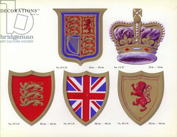 Decorative displays for the coronation of Queen Elizabeth II (colour litho)