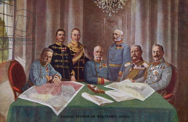 Kaiser Wilhelm II of Germany and Austro-Hungarian Emperor Franz Joseph I with senior military commanders, World War I, 1914-1915 (colour litho)