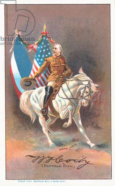 Buffalo Bill riding a white horse (colour litho)
