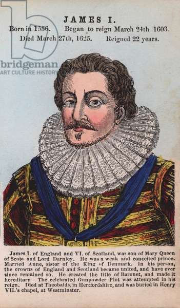 King James I (coloured engraving)