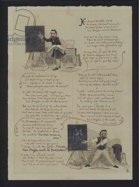 Satirical rhyme about French police officer and biometrics researcher Alphones Bertillon and his role in the Dreyfus Affair (colour litho)
