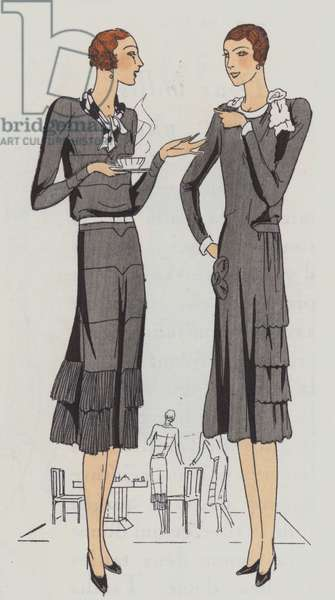 Women's day wear fasihion from the 1920s by designers Redfern and Bernard and Cie (colour litho)