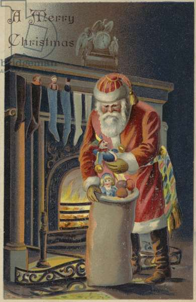 Father Christmas filling children's stockings (chromolitho)