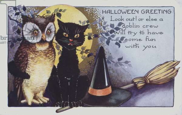 Halloween greetings card showing an owl, a cat and a witches hat at night. (chromolitho)