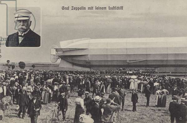 Graf Ferdinand von Zeppelin and his airship (b/w photo)