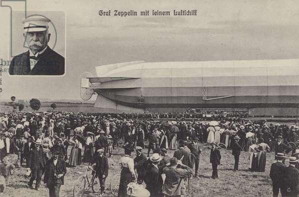 Graf Ferdinand von Zeppelin and his airship (b/w photo)