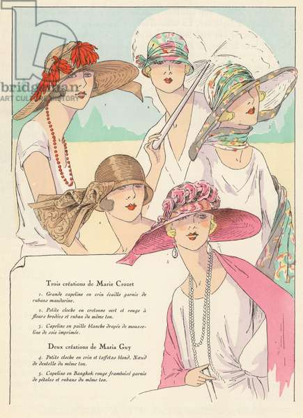 Women's hat fashions from the 1920s by designers Marie Crozet and Maria Guy (colour litho)