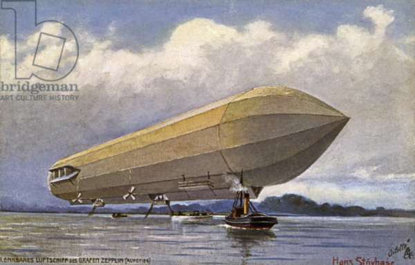 Zeppelin airship taking off from a lake (colour litho)