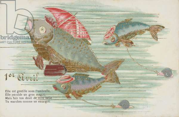 French card depicting fish to mark April Fool's Day (Poisson d'Avril) (chromolitho)