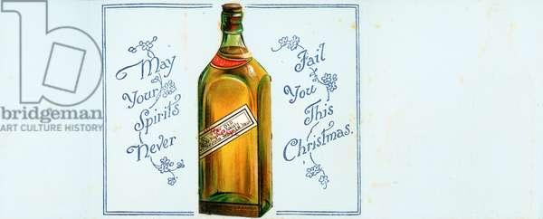 Very Old Highland Whisky Bottle, Christmas Card (chromolitho)