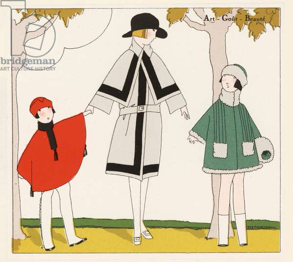 Coat fashion designs from the 1920s (colour litho)