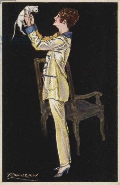 Girl in pyjamas holding white cat (colour litho)