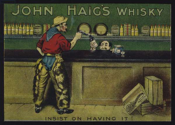 Cowboy in a saloon, advertisment for John Haig's whisky (chromolitho)