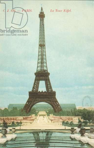 Eiffel Tower in Paris, France (coloured photo)