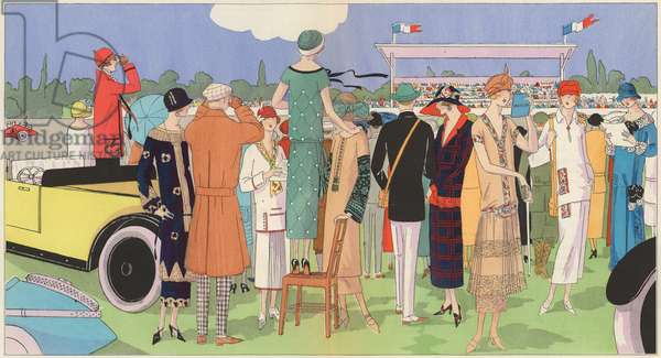 Women's fashion at the races by designers Jeanne Lanvin, Jean Patou, Premet, Georges Doeuillet (colour litho)