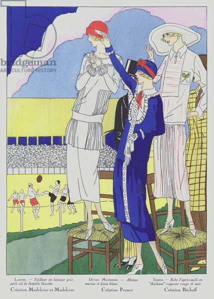 Women's fashion of the 1920s by designers Madeleine and Madeleine, Premet and Bechoff (colour litho)