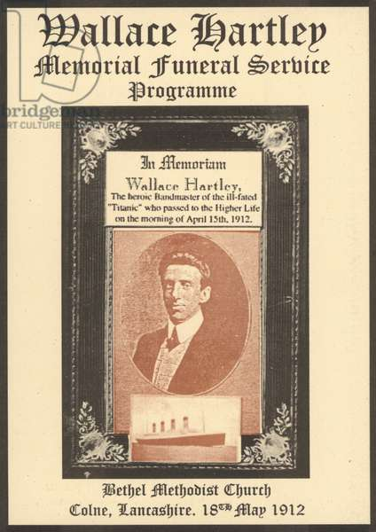 Programme for the funeral service of Wallace Hartley, bandmaster of the Titanic, killed in the sinking of the ship in 1912 (colour litho)