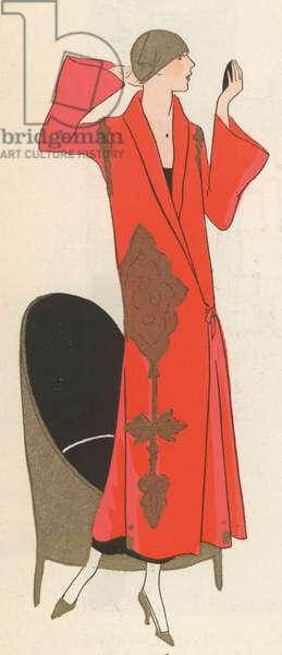 Red coat by fashion designer Paul Poiret, 1920s (colour litho)