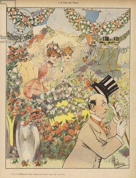 At the Festival of Flowers (colour litho)