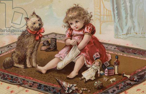 Little girl playing with her toys (chromolitho)