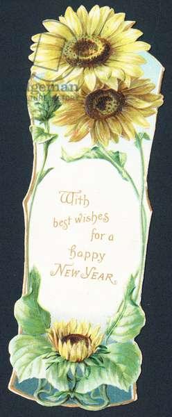 Sunflowers, New Year Car (chromolitho)