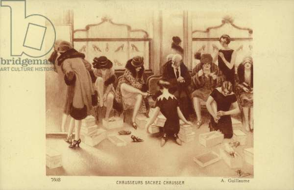 Women trying on shoes in a shoe shop (litho)