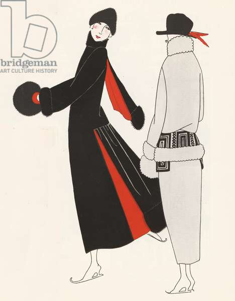 Skating outfits from the 1920s (colour litho)
