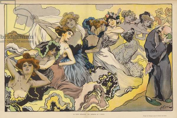 Virtue Disdaining the Gifts of Love (colour litho)