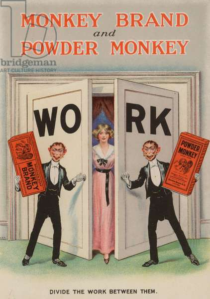 Advertisement for Monkey Brand and Powder Monkey soap (chromolitho)