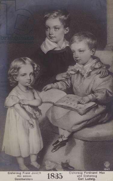 Archduke Franz Joseph (later Franz Joseph I, Emperor of Austria), Archduke Ferdinand Max (later Maximilian I of Mexico) and Archduke Karl Ludwig of Austria as young children in 1835. (litho)
