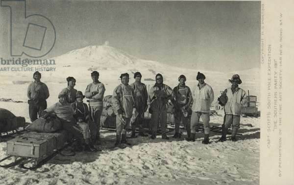 Captain Scott's South Pole Expedition. The Southern Party 1911. (b/w photo)