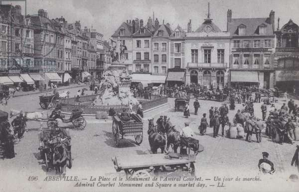 Place de l'Amiral Courbet on market day, Abbeville, France (b/w photo)