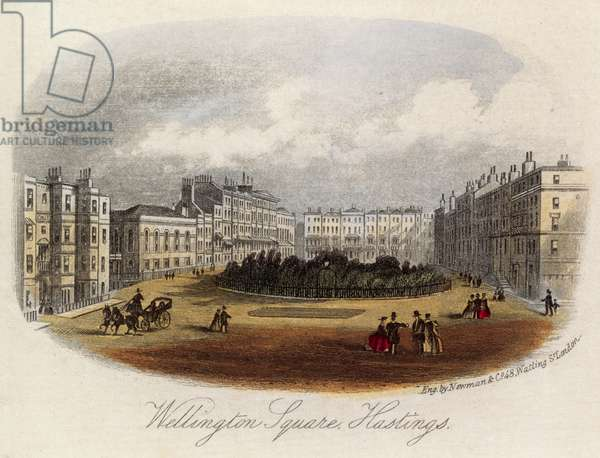 Wellington Square in Hastings (coloured engraving)